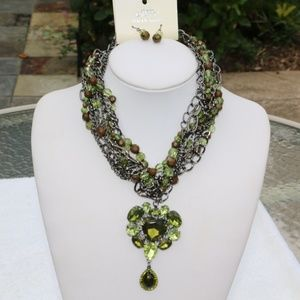 New Boho Multi Strand Crystal Heart Necklace Green